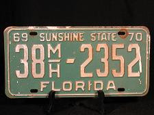 Buy 1969 1970 License Plate FLORIDA Motor Home YOM 38MH 2352 Green White