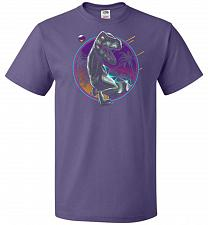 Buy Rad Velociraptor Unisex T-Shirt Pop Culture Graphic Tee (L/Purple) Humor Funny Nerdy