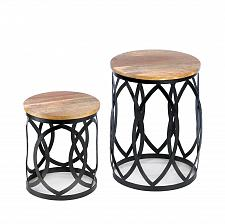 Buy *17337U - Contemporary Black Metalwork Accent Table Set Mango Wood Top