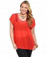 Buy Sheer Top Womens PLUS SIZE 1XL Solid Red Lace Back Yoke Scoop Neck BLUE NOTE