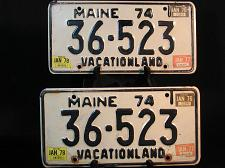 Buy 1974 Maine License Plates PAIR YOM 36 523 Vacationland Shop Garage Man Cave