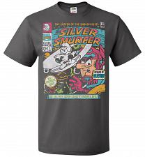 Buy Silver Smurfer Unisex T-Shirt Pop Culture Graphic Tee (6XL/Charcoal Grey) Humor Funny