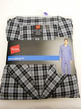 Buy Pajama Set Mens 2 Piece Woven Grey Plaid SIZE 2XL Long Sleeves HANES