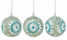 "Buy *17588U - Silver Turqoise Beaded 3"" Ball Tree Ornament 3pc Set"