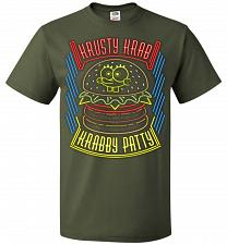 Buy Krusty Krab Krabby Patty Adult Unisex T-Shirt Pop Culture Graphic Tee (M/Military Gre