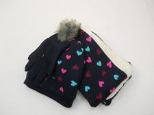 Buy Girls 3 PC Knit Set Scarf Hat Gloves Navy Blue Heart Print One Size Shearling