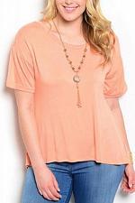 Buy Knit Top ROMAN Orange Necklace Hi-Lo Split Back Short Sleeves Women PLUS SIZE 1X
