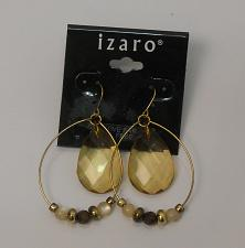 Buy Women Teardrop Bead Earrings Drop Dangle Gold Tones Hook Fasteners IZARO JEWELRY