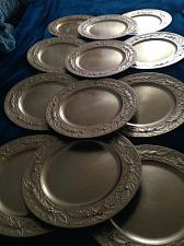 """Buy set of 12 dramatic decorative golden leaf acrylic charger plates 13"""" by spectrum"""