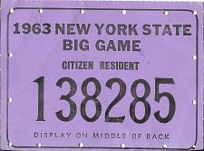 Buy Vintage Hunting License Big Game Tag New York State 1963