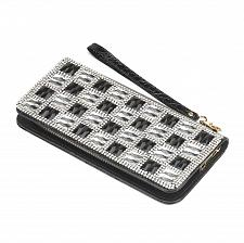 Buy *16148U - Black & White Checker Crystal Fashion Wallet Zipper Closure