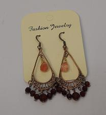 Buy Women Red Bead Teardrop Earrings Drop Dangle Gold Tones Hook Fasteners FASHION