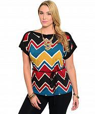 Buy Women Top PLUS SIZE 2X 3X LIBIAN Chevron Multi Color Kimono Sleeve Boat Neck