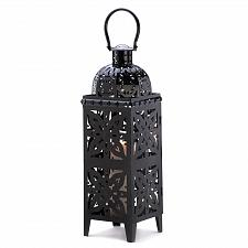 "Buy 13357U - Black Medallion Cut-out 25"" Moroccan Style Iron Candle Lantern"