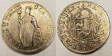 Buy 1834LIMAE-MM Peruvian 8 Reales World Silver Coin - Peru