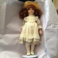"""Buy Erica Daniel Porcelain doll with Floral Dress with Lace Jumper Straw Hat 16"""""""
