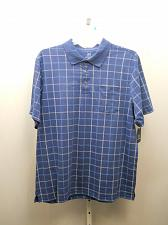 Buy George Mens Polo Shirt Blue Plaid Patterned No-Roll Collar Short Sleeve