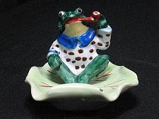 Buy RARE Occupied Japan Vintage Porcelain Frog on a Lily Figural Ashtray Snuffer
