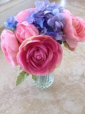 Buy pink & lavender Silk Floral Arrangement Is Attached Within The Glass Of The Vase