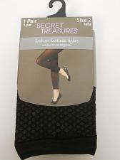 Buy Women Footless Tights PLUS SIZE 2 Solid Black SECRET TREASURES No Bind Waistband