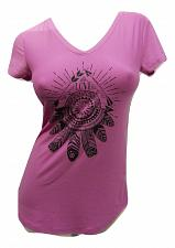 Buy Knit Top Womens SIZE S Purple Dreamcatcher V-Neck Short Sleeves Pullover