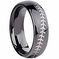Buy coi Jewelry Black Tungsten Carbide Baseball Wedding Band Ring
