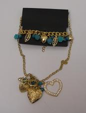 Buy Women Fashion Necklace Bracelet Set Heart Locket Beads Rhinestones Lever Fastene