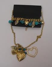 Buy Women Fashion Necklace Bracelet Set Heart Locket Beads Rhinestones Lever Fastene