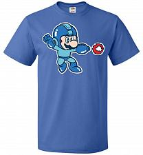 Buy Mega Mario Unisex T-Shirt Pop Culture Graphic Tee (2XL/Royal) Humor Funny Nerdy Geeky