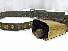 Buy Antique Brass COWBELL Leather Collar Studs Vintage Cow Bell Horse Goat Farm VTG