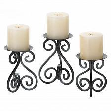 Buy *15838U - Black Scrollwork Iron Pillar Candle Stands Set Of 3