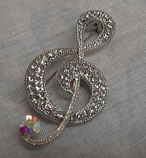 Buy Treble Clef Music Note Brooch Pin for Musician Clear Rhinestone Borealis Stone