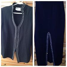 Buy women's black rhinestone jacket & full length skirt size large talk of the town