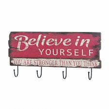 Buy *17048U - Believe In Yourself 4 Hook Wood Hanging Wall Plaque