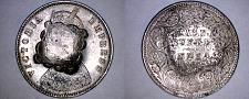 Buy c.1900 French Somaliland Djibouti 1/2 Rupee Silver Coin c/s on Indian 1/2 Rupee