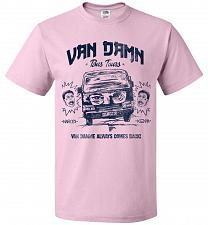 Buy Van Damn Tour Bus Adult Unisex T-Shirt Pop Culture Graphic Tee (L/Classic Pink) Humor