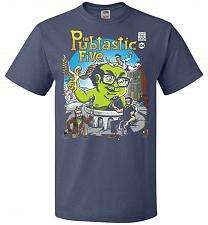 Buy Pubtastic Five Unisex T-Shirt Pop Culture Graphic Tee (L/Denim) Humor Funny Nerdy Gee