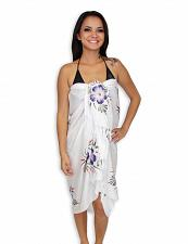 Buy Island White Sarong with Purple Hibiscus #KMI-7053-W w/ Coconut Tie Accessory