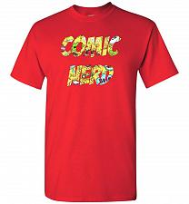 Buy Comic Nerd Unisex T-Shirt Pop Culture Graphic Tee (2XL/Red) Humor Funny Nerdy Geeky S
