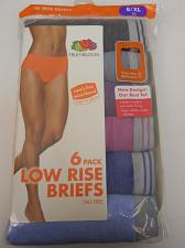 Buy Brief Panties 6 Pack Women Low Rise ASSORTED PLUS SIZE 8/XL FRUIT OF THE LOOM