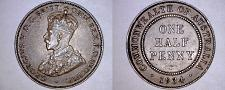Buy 1934 Australian Half (1/2) Penny World Coin - Australia