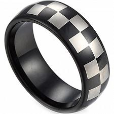 Buy coi Jewelry Black Tungsten Carbide Checkered Pattern Ring