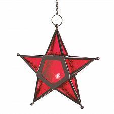 Buy 12288U - Red Pressed Glass Star Hanging Iron Candle Lantern