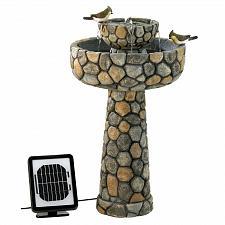 Buy 12841U - Wishing Well Cobblestone Look Solar Power Water Fountain Yard Art