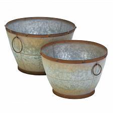 Buy *18398U - Tapered Galvanized Planters Set of 2 Pots