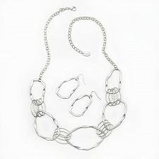 Buy *16234U - Wavy Circular Necklace & Earring Jewelry Set