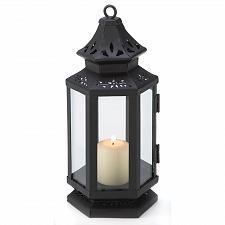 """Buy 13361U - Stagecoach Floral Cutwork Black 8"""" Iron Pillar Candle Lantern Glass"""