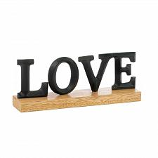 Buy *17582U - Black LOVE Block Letter Plaque Wood Base Decor