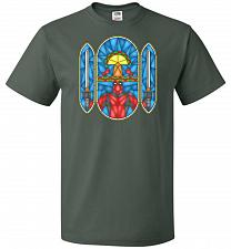 Buy Deadpool Stain Glass Unisex T-Shirt Pop Culture Graphic Tee (L/Forest Green) Humor Fu