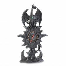 Buy 15257U - Black Dragon Figurine Golden Roman Numeral Mantel Clock